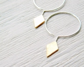 Sterling and Brass Geometric Hoops - handmade silver and brass scratched, diamond shape