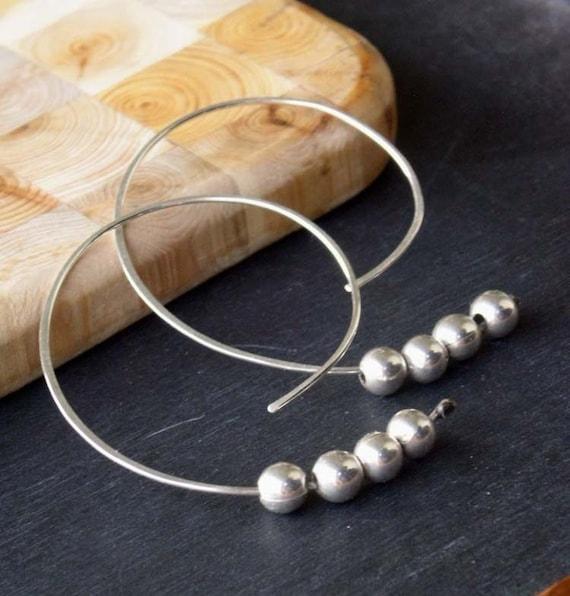 RESERVED - just for Yurikohime - Moon Earrings - open hoop sterling silver earrings, medium size Etsy