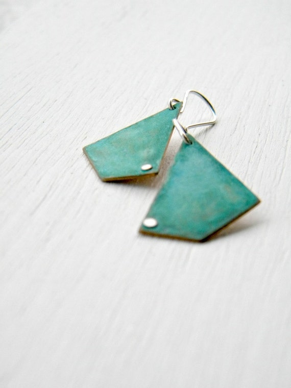 FREE SHIPPING - Almost Pentagon - geometric handmade brass and sterling silver dangle earrings with verdigris patina, Etsy