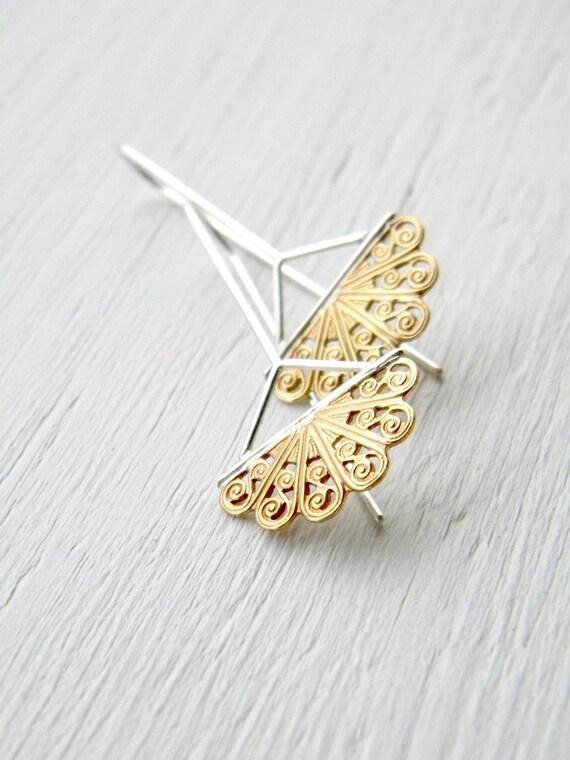 Golden Fans - Filigree Chandelier Earrings -  vintage stamped brass and sterling silver chandelier dangle earrings