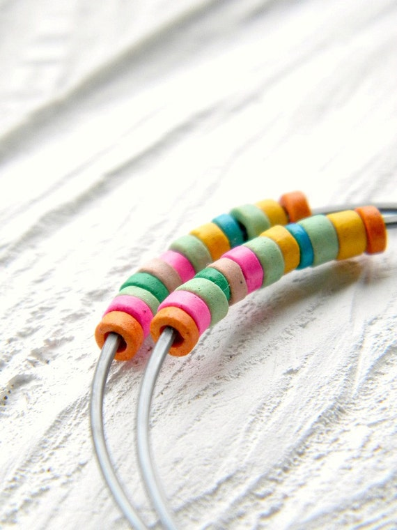 CIJ FREE SHIPPING - Circus Hoops - rainbow multicololor ceramic rondelles, sterling silver black hoops