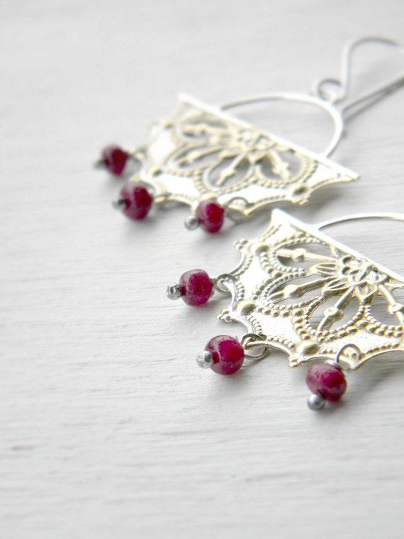 Filigree Chandelier Earrings, Ruby - sterling silver and vintage stamped filigree chandelier, july birthstone