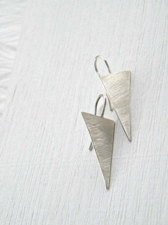FREE SHIPPING - Sterling Silver  Geometric Earrings - handmade solid sterling silver dangle geometric earrings, Etsy