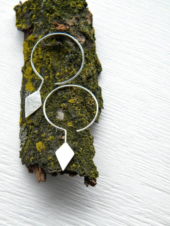 Kite Earrings - Sterling Silver  Geometric Hoops - handmade solid sterling silver hoop scratched, diamond shape.