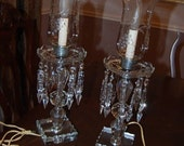 SALE  Pair of Crystal Boudoir Lamps with Hurricane Shade and Prisms