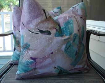Lavender Teal Pillow Covers One Pair 18 x 18 Handmade Home Decor Decorative Throw Pillows Girls Room Pillows Fantasy Pillows Cushions