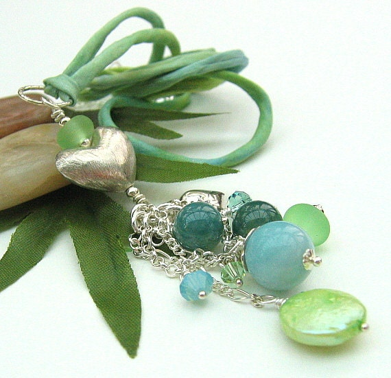 Blue Green Gemstone Cluster Necklace, Sterling Silver Heart Pendant Silk String Necklace - SATIN SEAS