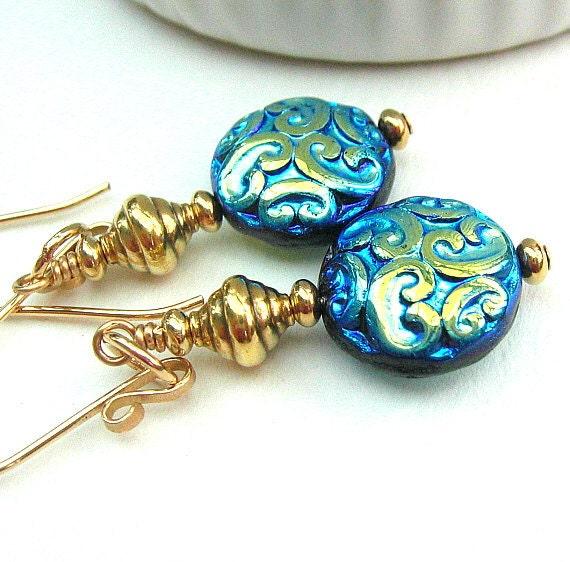 Burnished Blue Glass Earrings, Beaded Earrings, Gold Filled, Vermeil - SALOME