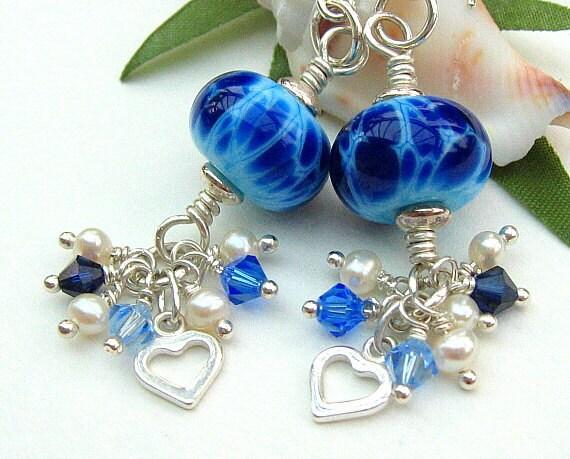 Blue Lampwork Glass Earrings, Freshwater Pearls, Swarovski Crystals, Blue Navy, Ivory, Cluster, Sterling Silver - BLUE LAGOON
