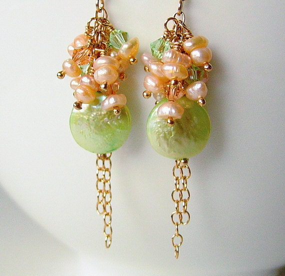 Green and Peach Pearl Earrings, Freshwater Pearl Earrings, Gold Filled Earrings, Beaded Earrings, Pearl Cluster - PEACHES & GREEN