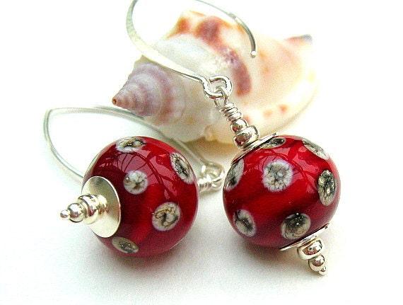 Red Lampwork Earrings, Glass Bead Earrings, Red Dot Silver Earrings - CARDINALE