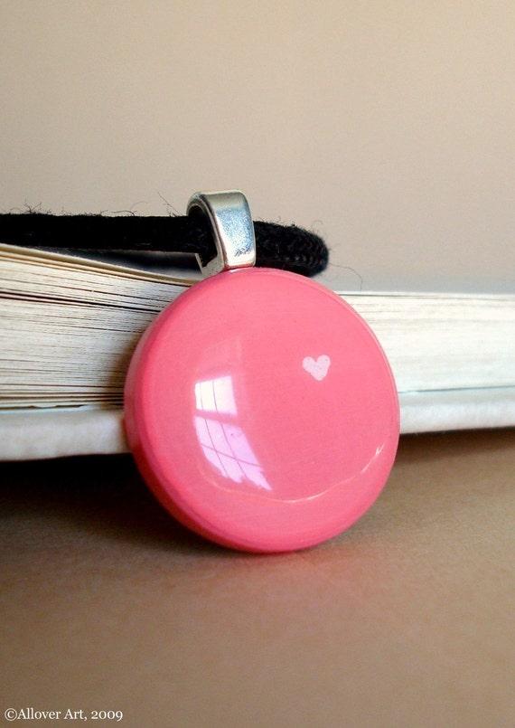 One Love.  Handpainted Art Pendant Necklace.