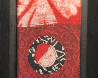 Red And Black Framed Quilted Art|   Be Still And Know That I Am God