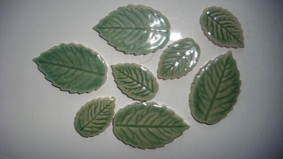 8 handmade glazed ceramic leaf tiles mosaic or cards