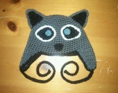 Crocheted Racoon Earflap Hat - Baby, Toddler, Child, Teen and Adult Sizes