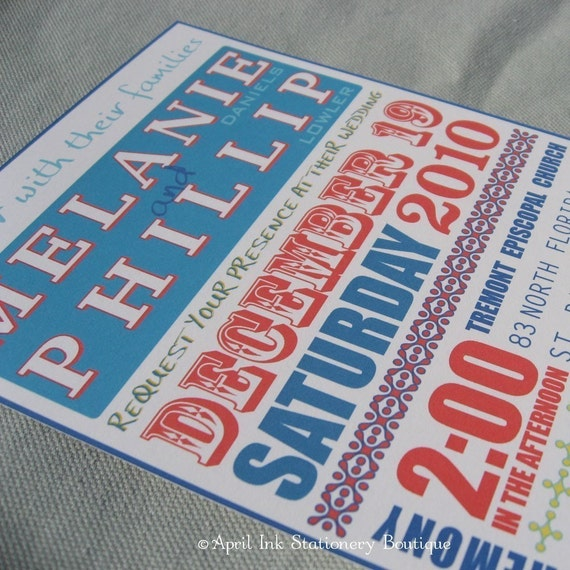 Red and Blue Rock Poster Style Wedding Invitation Sample