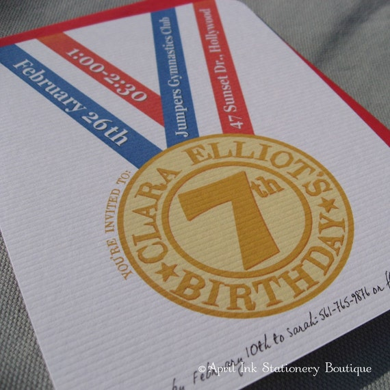 Olympic Gold Medal Birthday Party Invitations