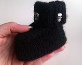 Baby goth black skull booties 6-9 months hand knitted