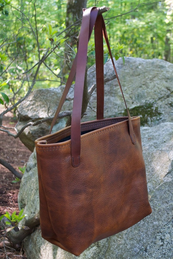 Suede Lined Leather Tote with Pocket