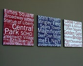 Great American Cities, New York, San Francisco, Chicago - set of 3 12x12 CAFE MOUNT