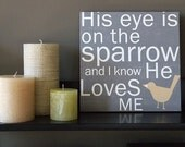 His Eye is on the Sparrow in Gray - 12x12 CAFE MOUNT