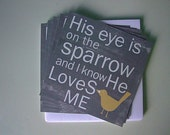 His Eye is on the Sparrow - Set of 5 Flat Note Cards