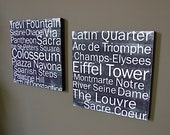Paris and Rome in Black 12x12 CAFE MOUNT