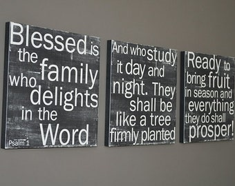 NEW Psalms 1 set of 3 in Black - 12x12 CAFE MOUNT