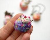 Watercolour Cat Amulet - Beautiful Kitty - Necklace Pendant - Bright Colours - Pop - ETTE - OOAK