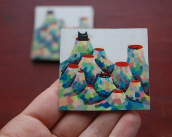 Cats in Canos Painting Sticker