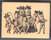 KEN BROWN STAMPS SAXTONS RIVER VERMONT WOOD MOUNT RUBBER STAMP UNUSUAL WHIMSICAL CARROT HEAD MUSICAL FAMILY