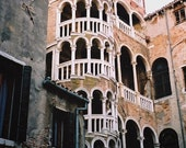 75% off Clearance: The winding staircase- Signed Fine Art Photograph of Venice Italy in vintage salmon, 8 x 12