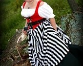 PIRATE VIXEN or RENAISSANCE WENCH BLACK and WHITE STRIPED SKIRT