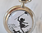 Girl at the Park Pocket Watch Necklace