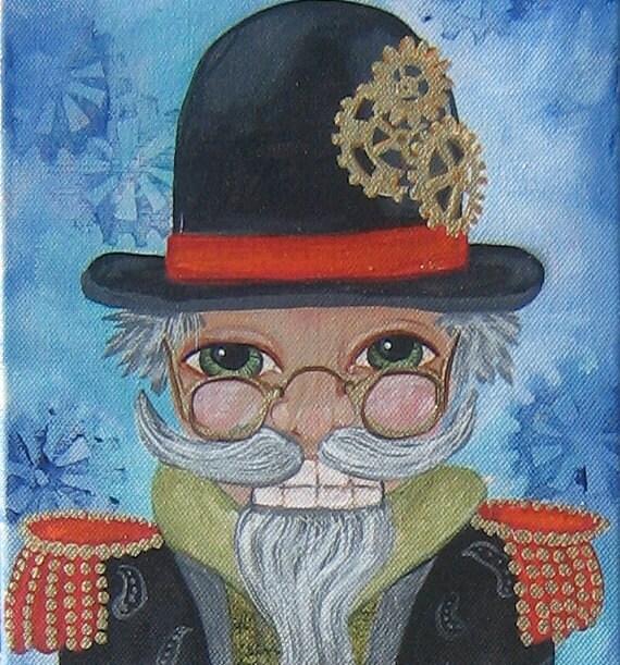 Steampunk Nutcracker Christmas Fine Art Painting Original Holiday Wall Decor KeRobinson