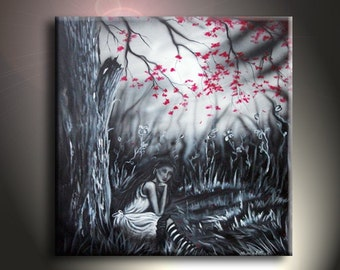 Sad Woman Painting Original Artwork 24 x 24 Thinking Woman Art On Canvas
