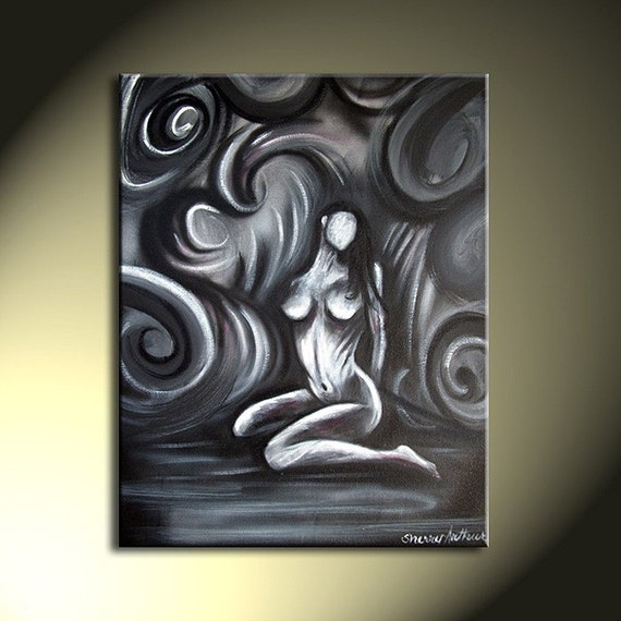 Original Painting Abstract Nude Woman Black White Gray 16x20