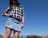 HALF OFF-  Feelin Lucky- Hand painted Upcycled Skirt- size 8