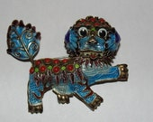 Reserved for J Chinese Foo Dog Pin with Red Coral Cabochons