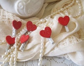 Little Red Heart Clips, Heart Magnets, Favor Bag Clips, Red Hearts, Heart Clips, Valentine