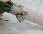 Heart Locket Bridal Bouquet Accessory, Bridal Bouquet Charm, Locket