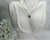 Vintage Gold Butterfly Necklace, 1960 Butterfly Necklace, Gold Filigree