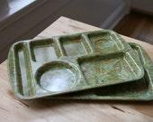 "Super cool vintage set of 2 rare school lunch trays - confetti ""splatterware"" colorful"