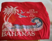Vintage t shirt -  It's better in the Bahamas - Ocean wave surf with palm trees seagulls setting sun