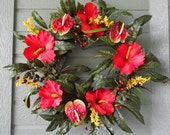 Tropical Wreath In Bright Red Hibiscus and Anthurium.......CHECK SHOP ANNOUNCEMENT