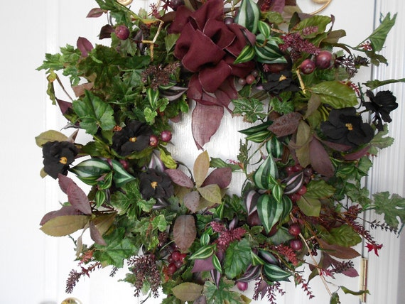 Rich Plums... Fruits and Flowers Wreath With Various Textures of Greenery ......