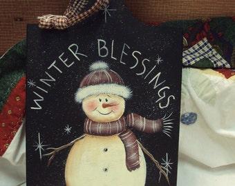 Snowman Wooden Cutting Board