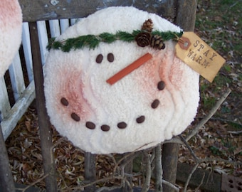 Chenille Snowman Pillow