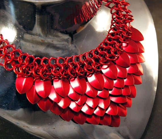 Dragon Scale Maille Necklace - anodized aluminum - red