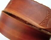 British Tan leather snap belt